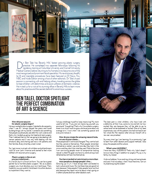 Screenshot of the Article - Beverly Hills Based Dr. Ben Talei Discusses His Passion for Facial Plastic Surgery