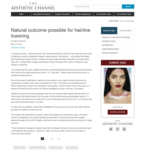 Screenshot of the Article - Natural Outcome Possible for Hairline Lowering