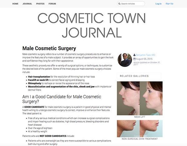 Screenshot of the Article - Dr. Ben Talei's Cosmetic Town Journal Interview Offers Extensive Insight into Male Cosmetic Surgery
