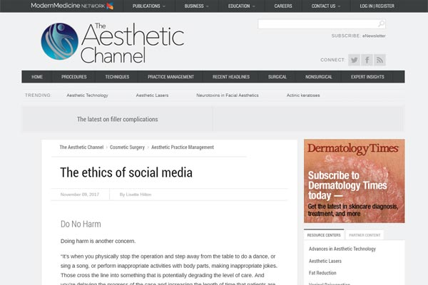 Screenshot of the Article - Dr. Matt Nejad and Dr. Ben Talei are Featured on the Aesthetic Channel and Offer their Interesting Comments Regarding Professional Ethics and Social Media