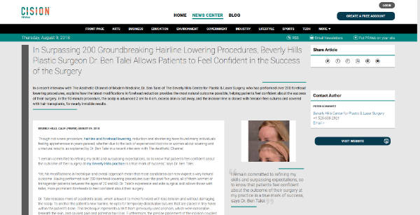 Screenshot of the Article - In Surpassing 200 Groundbreaking Hairline Lowering Procedures, Beverly Hills Plastic Surgeon Dr. Ben Talei Allows Patients to Feel Confident in the Success of the Surgery