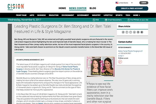 Screenshot of the Article - Leading Facial Plastic Surgeons Dr. Ben Stong and Dr. Ben Talei are featured in Life & Style Magazine and Provide their Insight into the Benefits of Facial Fillers