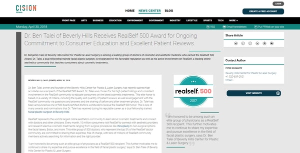 Screenshot of the Article - Dr. Ben Talei of Beverly Hills Receives RealSelf 500 Award for Ongoing Commitment to Consumer Education and Excellent Patient Reviews