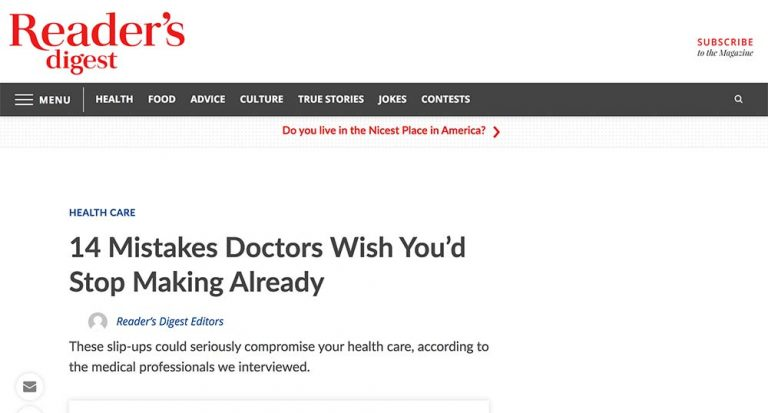 Screenshot of the Article - Dr. Ben Talei Quoted in Reader's Digest