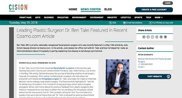 Screenshot of the Article - Leading Plastic Surgeon Dr. Ben Talei Featured in Recent Cosmo.com Article