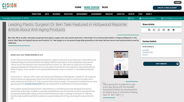 Screenshot of the Article - Leading Plastic Surgeon Dr. Ben Talei Featured in Hollywood Reporter Article About Anti-Aging Products