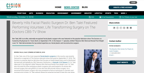 Screenshot of the Article - BEVERLY HILLS FACIAL PLASTIC SURGEON DR. BEN TALEI FEATURED PERFORMING VOLUNTEER, LIFE TRANSFORMING SURGERY ON THE DOCTORS CBS-TV SHOW