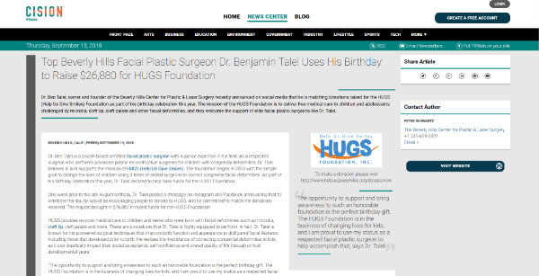 Screenshot of the Article - TOP BEVERLY HILLS FACIAL PLASTIC SURGEON DR. BENJAMIN TALEI USES HIS BIRTHDAY TO RAISE $26,880 FOR HUGS FOUNDATION