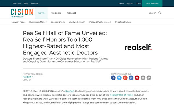 Screenshot of the Article - REALSELF HALL OF FAME UNVEILED: REALSELF HONORS TOP 1,000 HIGHEST-RATED AND MOST ENGAGED AESTHETIC DOCTORS