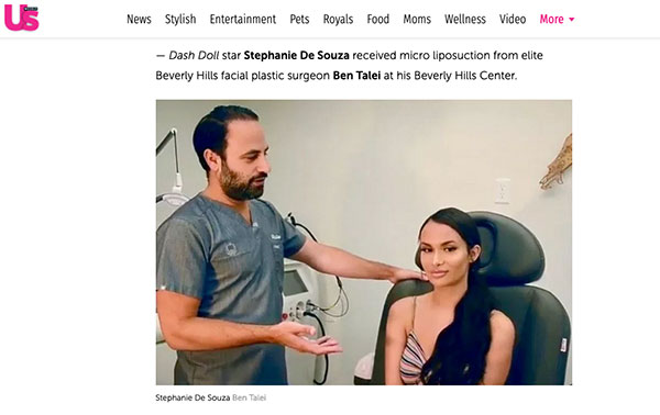 Screenshot of the Article - US WEEKLY – DASH DOLL STAR STEPHANIE DE SOUZA RECEIVED MICRO LIPOSUCTION FROM ELITE BEVERLY HILLS FACIAL PLASTIC SURGEON BEN TALEI AT HIS BEVERLY HILLS CENTER.