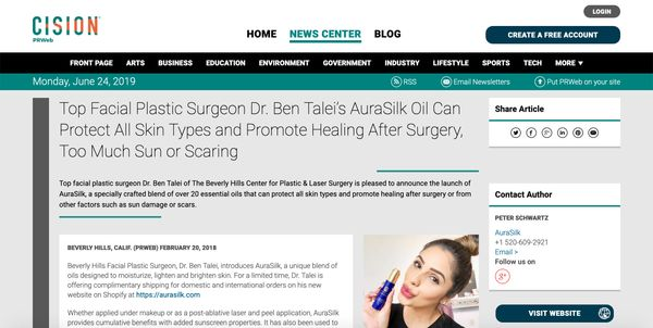 Screenshot of the Article - Top Facial Plastic Surgeon Dr. Ben Talei's AuraSilk Oil Can Protect All Skin Types and Promote Healing After Surgery, Too Much Sun or Scaring