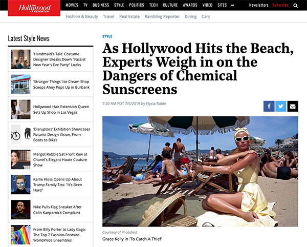 Screenshot of the Article - AuraSpa's Jennifer Hollander Discusses Chemical Sunscreens with The Hollywood Reporter