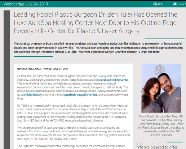 Screenshot of the Article - Dr. Ben Talei Has Opened the Luxe AuraSpa Healing Center Next Door to His Cutting-Edge Beverly Hills Center for Plastic & Laser Surgery