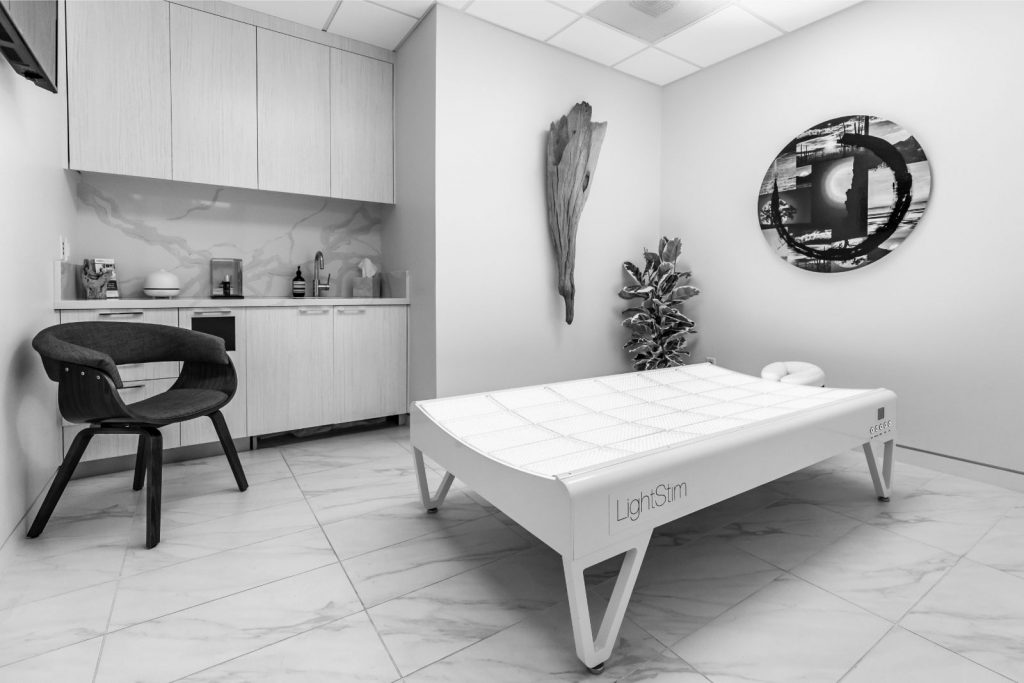 AuraSpa Patient Room with LightStim Treatment Bed Turned Off
