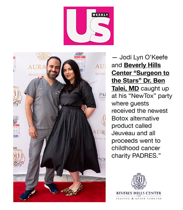 """Screenshot of the Article - Dr. Ben Talei, MD at his """"NewTox"""" fundraiser where guests received the newest Botox alternative product Jeuveau and all proceeds went to childhood cancer charity PADRES."""