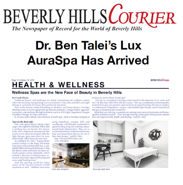 Screenshot of the Article - Dr. Ben Talei's Lux AuraSpa Has Arrived