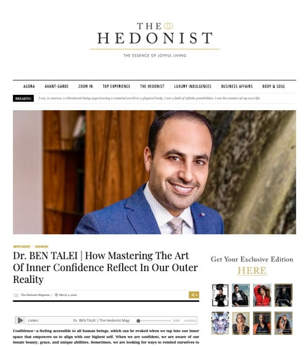 Screenshot of the Article - Dr. BEN TALEI | How Mastering The Art of Inner Confidence Reflect in Our Outer Reality